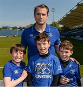 1 May 2017; Leinster's Jamie Heaslip poses for a photograph with, from left, Adam Campbell, age 9, Jack Rapley, age 11, and Harry Rapley, age 8, from Blackrock in Dublin, during an open squad training session at the RDS Arena, Ballsbridge, Dublin. Photo by Piaras Ó Mídheach/Sportsfile