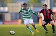 2 May 2017; Paul Corry of Shamrock Rovers in action against Dean Zambra of Longford Town during the EA Sports Cup quarter-final match between Shamrock Rovers and Longford Town at Tallaght Stadium, Tallaght, Co. Dublin. Photo by Sam Barnes/Sportsfile