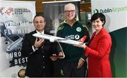 3 May 2017; Turkish Airlines and Dublin Airport Authority wish the Cricket Ireland team good luck prior to the squad's departure for the One Day Internationals at Bristol and Lord's. Pictured are Hasan Mutlu, General Manager of Turkish Airlines Dublin, Ireland head coach John Bracewell and and Edel Redmond, Senior B2B Marketing Executive, at Dublin Airport in Dublin. Photo by David Maher/Sportsfile