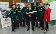 3 May 2017; Turkish Airlines and Dublin Airport Authority wish the Cricket Ireland team good luck prior to the squad's departure for the One Day Internationals at Bristol and Lord's. Pictured are Hasan Mutlu, General Manager of Turkish Airlines Dublin with Edel Redmond, B2B Marketing Executive Dublin Airport and members of the Ireland squad, from left to right, Andy McBrine, Stuart Thompson, Craig Young, Peter Chase and Kevin O'Brien at Dublin Airport in Dublin. Photo by David Maher/Sportsfile