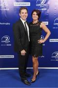 29 April 2017; On arrival at the Leinster Rugby Awards Ball were Leinster's Daniel and Sandra Davey. The Awards, MC'd by Darragh Maloney, were a celebration of the 2016/17 Leinster Rugby season to date and over the course of the evening Leinster Rugby acknowledged the contributions of retirees Mike Ross, Eóin Reddan and Luke Fitzgerald as well as presenting Leinster Rugby caps to departees Bill Dardis, Hayden Triggs, Mike McCarthy, Zane Kirchner and Dominic Ryan. Former Leinster Rugby team doctor Professor Arthur Tanner was posthumously inducted into the Guinness Hall of Fame. Some of the Award winners on the night included; Gonzaga College (Deep River Rock School of the Year), David Hicks, De La Salle Palmerston (Beauchamps Contribution to Leinster Rugby Award), Clontarf FC (CityJet Senior Club of the Year), Coláiste Chill Mhantáin (Irish Independent Development School of the Year Award), Athy RFC (Bank of Ireland Junior Club of the Year). Clayton Hotel, Burlington Road, Dublin 4. Photo by Stephen McCarthy/Sportsfile