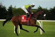 3 September 2011; Dunboyne Express, with Declan McDonogh up, canters to the start for The Red Mills Irish Champion Stakes. Horse Racing at Leopardstown, Leopardstown Race Course, Dublin. Picture credit: Ray McManus / SPORTSFILE