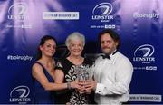 29 April 2017; Ann Tanner, with Jocelyn and Jamie, with the 2017 Guinness Hall of Fame Award, posthumously awarded to her late husband Prof. Arthur Tanner, at the Leinster Rugby Awards Ball. The Awards, MC'd by Darragh Maloney, were a celebration of the 2016/17 Leinster Rugby season to date and over the course of the evening Leinster Rugby acknowledged the contributions of retirees Mike Ross, Eóin Reddan and Luke Fitzgerald as well as presenting Leinster Rugby caps to departees Bill Dardis, Hayden Triggs, Mike McCarthy, Zane Kirchner and Dominic Ryan. Former Leinster Rugby team doctor Professor Arthur Tanner was posthumously inducted into the Guinness Hall of Fame. Some of the Award winners on the night included; Gonzaga College (Deep River Rock School of the Year), David Hicks, De La Salle Palmerston (Beauchamps Contribution to Leinster Rugby Award), Clontarf FC (CityJet Senior Club of the Year), Coláiste Chill Mhantáin (Irish Independent Development School of the Year Award), Athy RFC (Bank of Ireland Junior Club of the Year). Professional award winners on the night included Laya Healthcare Young Player of the Year - Joey Carbery, Life Style Sports Supporters Player of the Year - Isa Nacewa, Canterbury Tackle of the Year – Isa Nacewa, Irish Independnet Try of the Year – Adam Byrne and Bank of Ireland Players' Player of the Year – Luke McGrath. Clayton Hotel, Burlington Road, Dublin 4. Photo by Stephen McCarthy/Sportsfile
