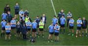 9 April 2017; Dublin manager Jim Gavin, team captain Stephen Cluxton and members of the Dublin panel look on during the cup presentation after the Allianz Football League Division 1 Final match between Dublin and Kerry at Croke Park, in Dublin. Photo by Ray McManus/Sportsfile