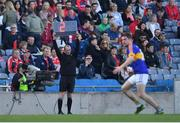 8 April 2017; Sideline official holds up the time added on during the Allianz Football League Division 3 Final match between Louth and Tipperary at Croke Park in Dublin. Photo by Brendan Moran/Sportsfile