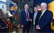 "4 May 2017; Uachtarán Chumann Lúthchleas Gael Aogán Ó Fearghail with former Tipperary player and manager Michael 'Babs' Keating, centre, and former Cork player and manager Conor Counihan, left, during the official opening of the GAA Museum ""Imreoir to Bainisteoir"" exhibition launch at the GAA Museum in Croke Park, Dublin. Photo by Matt Browne/Sportsfile"