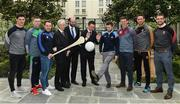4 May 2017; Minister of State for Tourism and Sport, Patrick O'Donovan, T.D. with John Treacy, Chief Executive Officer, Irish Sports Council, Dermot Earley, Chief Executive Officer, Gaelic Players Association, and inter county stars,  from left, Conor McDonald, Wexford, Séamus O'Carroll, Limerick, Noel Connors, Waterford, Jack McCaffrey, Dublin, John Heslin, Westmeath, Michael Fennelly, Kilkenny, Tom Parsons, Mayo, in attendance at the Launch of Government Grant payment to inter county players at The Merrion Hotel in Dublin. Photo by Ray McManus/Sportsfile