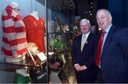 "4 May 2017; Uachtarán Chumann Lúthchleas Gael Aogán Ó Fearghail with former Cork player and manager Conor Counihan during the official opening of the GAA Museum ""Imreoir to Bainisteoir"" exhibition launch at the GAA Museum in Croke Park, Dublin. Photo by Matt Browne/Sportsfile"