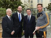 4 May 2017; Minister of State for Tourism and Sport, Patrick O'Donovan, T.D. with John Treacy, left, Chief Executive Officer, Irish Sports Council, Dermot Earley, Chief Executive Officer, Gaelic Players Association, and inter county star, Michael Fennelly, Kilkenny, in attendance at the Launch of Government Grant payment to inter county players at The Merrion Hotel in Dublin. Photo by Ray McManus/Sportsfile