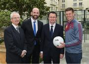 4 May 2017; Minister of State for Tourism and Sport, Patrick O'Donovan, T.D. with John Treacy, left, Chief Executive Officer, Irish Sports Council, Dermot Earley, Chief Executive Officer, Gaelic Players Association, and inter county star, John Heslin, Westmeath, in attendance at the Launch of Government Grant payment to inter county players at The Merrion Hotel in Dublin. Photo by Ray McManus/Sportsfile