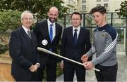 4 May 2017; Minister of State for Tourism and Sport, Patrick O'Donovan, T.D. with John Treacy, left, Chief Executive Officer, Irish Sports Council, Dermot Earley, Chief Executive Officer, Gaelic Players Association, and inter county star, Conor McDonald, Wexford, in attendance at the Launch of Government Grant payment to inter county players at The Merrion Hotel in Dublin. Photo by Ray McManus/Sportsfile