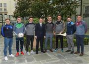 4 May 2017; Minister of State for Tourism and Sport, Patrick O'Donovan, T.D., with inter county stars, from left, Noel Connors, Waterford, Séamus O'Carroll, Limerick, Conor McDonald, Wexford, Tom Parsons, Mayo, Michael Fennelly, Kilkenny, Jack McCaffrey, Dublin, and John Heslin, Westmeath, at the Launch of Government Grant payment to inter county players at The Merrion Hotel in Dublin. Photo by Ray McManus/Sportsfile
