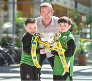 5 May 2017; Aviva's FAI Junior Cup Ambassador, Richard Dunne and seven year old Sheriff YC supporter's Jack Ogle, left, and Rhys Creane who were on Sheriff Street in Dublin today, visiting FAI Junior Cup Finalists Sheriff YC ahead of the Final in the Aviva Stadium on 13th May against Kilkenny's Evergreen FC. The former Republic of Ireland International visited the home of Sheriff YC today and will be travelling to Kilkenny tomorrow to visit Evergreen FC as part of Aviva's Community Days ahead of the Final. Photo by Matt Browne/Sportsfile