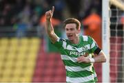 5 May 2017; Ronan Finn of Shamrock Rovers celebrates after scoring the first goal against Dundalk during the SSE Airtricity League Premier Division game between Shamrock Rovers and Dundalk at Tallaght Stadium in Dublin. Photo by Matt Browne/Sportsfile