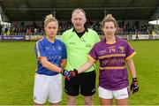 30 April 2017; Referee John Niland with team captains and Samantha Lambert of Tipperary and Fiona Rochford of Wexford, right, before the Lidl Ladies Football National League Div 3 Final match between Tipperary and Wexford at the Clane Grounds in Kildare.  Photo by Piaras Ó Mídheach/Sportsfile