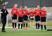6 May 2017; Players from Tubbercurry, Co Sligo, celebrate after a penalty is scored during penalty shootout against Hacketstown, Co Carlow,  whilst competing in the U13 Girls Futsal Semi-Final during the Aldi Community Games May Festival 2017 at National Sports Campus, in Abbotstown, Dublin.  Photo by Sam Barnes/Sportsfile