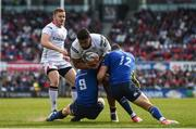 6 May 2017; Charles Piutau of Ulster is tackled by Luke McGrath, left, and Noel Reid of Leinster during the Guinness PRO12 Round 22 match between Ulster and Leinster at Kingspan Stadium in Belfast. Photo by Ramsey Cardy/Sportsfile