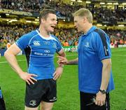 21 May 2011; Leinster's Brian O'Driscoll speaking with head coach Joe Schmidt after the game. Heineken Cup Final, Leinster v Northampton Saints, Millennium Stadium, Cardiff, Wales. Picture credit: Brendan Moran / SPORTSFILE