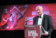 5 November 2011; Guest of Honour Brian Cody, Kilkenny Hurling manager, speaking during the 2011 Camogie All-Stars in association with O'Neills. Citywest Hotel, Saggart, Co. Dublin. Picture credit: Stephen McCarthy / SPORTSFILE