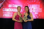 5 November 2011; Meath's Jane Dolan, left, and Áine Keogh with their 2011 Camogie Soaring Stars awards at the 2011 Camogie All-Stars in association with O'Neills. Citywest Hotel, Saggart, Co. Dublin. Picture credit: Stephen McCarthy / SPORTSFILE