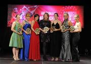 5 November 2011; Waterford recipients of 2011 Camogie Soaring Stars awards, from left, Emma Hannon, Gráinne Kenneally, Nicola Morrissey, Patricia Jackman, Jennie Simpson, Aisling O'Brien and Karen Kelly at the 2011 Camogie All-Stars in association with O'Neills. Citywest Hotel, Saggart, Co. Dublin. Picture credit: Stephen McCarthy / SPORTSFILE