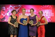 5 November 2011; Down recipients of 2011 Camogie Soaring Stars awards, from left, Niamh Mallon, Catherine McGourty, Fionnuala Carr and Orla Maginn at the 2011 Camogie All-Stars in association with O'Neills. Citywest Hotel, Saggart, Co. Dublin. Picture credit: Stephen McCarthy / SPORTSFILE