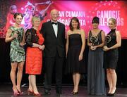 5 November 2011; President of the Camogie Association Joan O' Flynn, Sinead O'Connor, Ard Stiúrthoir of the Camogie Association, and Guest of Honour Brian Cody, Kilkenny hurling manager, with 2011 Camogie Intermediate Soaring Stars, from left, Jane Adams, Antrim, Ciara O'Connor, Waterford, and Frances Doran, Wexford, at the 2011 Camogie All-Stars in association with O'Neills. Citywest Hotel, Saggart, Co. Dublin. Picture credit: Stephen McCarthy / SPORTSFILE