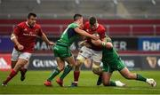 6 May 2017; Jack O'Donoghue of Munster is tackled by John Cooney, left, and Finlay Bealham of Connacht  during the Guinness PRO12 Round 22 match between Munster and Connacht at Thomond Park, in Limerick. Photo by Brendan Moran/Sportsfile