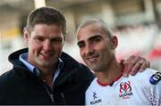 6 May 2017; Ulster's Ruan Pienaar and former Ulster captain Johann Muller following the Guinness PRO12 Round 22 match between Ulster and Leinster at Kingspan Stadium in Belfast. Photo by Ramsey Cardy/Sportsfile