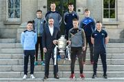 3 May 2017; In attendance at the Leinster GAA Senior Hurling and Football Championships 2017 Launch are, front, Rossa Butler, Ecommerce and Marketing Manager, Littlewoods Ireland with Mark Bergin of Kilkenny and the Bob O'Keeffe Cup, and from left, Niall McMorrow of Dublin, Jordan Conway of Kerry, Matthew O'Hanlon of Wexford, Pádraic Mannion of Galway, Ross King of Laois, and Seán Ryan of Offaly. Pearse Museum, Dublin.  Photo by Piaras Ó Mídheach/Sportsfile
