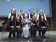 6 May 2017: Uachtarán Chumann Lúthchleas Aogán Ó Fearghail and Antóin MacGabhann, Cathaoirleach, Choiste Scór Náisiúnta and the winning St Enda's team from  Omagh, Co Tyrone, of  David Tierney, Damien Friel, Paul Breen, Ciarán Breen, Leanne McCullagh, Michelle Mullin, Courtney McAskie and Grainne Fox after being presented with the trophy for winning the 'Rince seist in the All-Ireland Scór Sinsear Finals at The Waterfront Theatre, Belfast. Photo by Ray McManus/Sportsfile