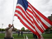 7 May 2017; New York GAA official Seamus Dooley, prepares the USA flag prior to the Connacht GAA Football Senior Championship Preliminary Round match between New York and Sligo at Gaelic Park in the Bronx borough of New York City, USA. Photo by Stephen McCarthy/Sportsfile