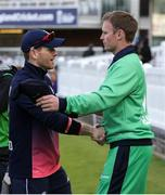 7 May 2017; Captains Eóin Morgan of England and William Porterfield of Ireland shake hands after the One Day International between England and Ireland at Lord's, London, England. Photo by Matt Impey/Sportsfile