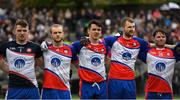 7 May 2017; New York players, from left, Vinny Cadden, Peter Witherow, Danny Sutcliffe, David Cunnane and Eugene McVerry stand for the national anthem during the Connacht GAA Football Senior Championship Preliminary Round match between New York and Sligo at Gaelic Park in the Bronx borough of New York City, USA. Photo by Stephen McCarthy/Sportsfile