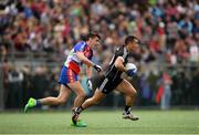 7 May 2017; Neil Ewing of Sligo in action against Danny Sutcliffe of New York during the Connacht GAA Football Senior Championship Preliminary Round match between New York and Sligo at Gaelic Park in the Bronx borough of New York City, USA. Photo by Stephen McCarthy/Sportsfile