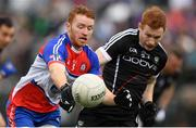 7 May 2017; Daniel McKenna of New York in action against Noel Gaughan of Sligo during the Connacht GAA Football Senior Championship Preliminary Round match between New York and Sligo at Gaelic Park in the Bronx borough of New York City, USA. Photo by Stephen McCarthy/Sportsfile