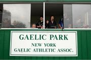 7 May 2017; RTÉ gaelic games commentator Marty Morrissey broadcasts live during the Connacht GAA Football Senior Championship Preliminary Round match between New York and Sligo at Gaelic Park in the Bronx borough of New York City, USA. Photo by Stephen McCarthy/Sportsfile