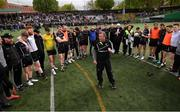 7 May 2017; Sligo manager Niall Carew speaks to his players following the Connacht GAA Football Senior Championship Preliminary Round match between New York and Sligo at Gaelic Park in the Bronx borough of New York City, USA. Photo by Stephen McCarthy/Sportsfile
