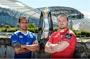 8 May 2017; Isa Nacewa of Leinster, left, and Ken Owens of Scarlets in attendance at a Guinness PRO12 Semi-Final Press Event on Bath Avenue in Dublin. Photo by Piaras Ó Mídheach/Sportsfile