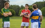 8 May 2017; Footballers, from left, Johnny Buckley of Kerry, Mark Collins of Cork, Brian Fox of Tipperary and Paul Whyte of Waterford during the Munster GAA Senior Football & Hurling Championships 2017 launch at Muckross House in Killarney, Co. Kerry. Photo by Brendan Moran/Sportsfile