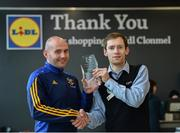 12 May 2017; The Lidl / Irish Daily Star Manager of the Month for April was announced today as Shane Ronayne from Tipperary. Shane led Tipperary through an unbeaten League campaign to the Lidl NFL Division 3 Final which they eventually drew with Wexford with the replay set to take place this weekend in Birr. Shane was presented with the award by Yuris Akerbergs, Deputy Manager Lidl Clonmel. Lidl, Clonmel, Co. Tipperary. Photo by Diarmuid Greene/Sportsfile