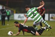 12 May 2017; Ronan Finn of Shamrock Rovers in action against Patrick Kavanagh of Bohemians during the SSE Airtricity League Premier Division game between Bohemians and Shamrock Rovers at Dalymount Park in Dublin. Photo by David Maher/Sportsfile