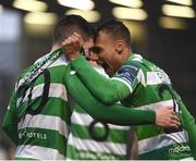 12 May 2017; Trevor Clarke, left, of Shamrock Rovers celebrates with team-mate Graham Burke after scoring his side's second goal during the SSE Airtricity League Premier Division game between Bohemians and Shamrock Rovers at Dalymount Park in Dublin. Photo by David Maher/Sportsfile