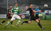 12 May 2017; Rob Cornwell of Bohemians in action against Graham Burke of Shamrock Rovers during the SSE Airtricity League Premier Division game between Bohemians and Shamrock Rovers at Dalymount Park in Dublin. Photo by David Maher/Sportsfile