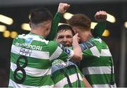 12 May 2017; Trevor Clarke, centre, of Shamrock Rovers celebrates after scoring his side's second goal with team-mates Ronan Finn and Gary Shaw during the SSE Airtricity League Premier Division game between Bohemians and Shamrock Rovers at Dalymount Park in Dublin. Photo by David Maher/Sportsfile
