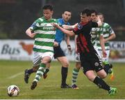 12 May 2017; Ronan Finn of Shamrock Rovers in action against Ian Morris of Bohemians during the SSE Airtricity League Premier Division game between Bohemians and Shamrock Rovers at Dalymount Park in Dublin. Photo by David Maher/Sportsfile