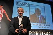 12 November 2011; Fran Ray, winner of the TISSOT PFAI Merit Award, at the TISSOT PFAI Player of the Year Awards 2011. Burlington Hotel, Dublin. Picture credit: David Maher / SPORTSFILE