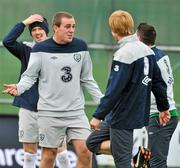14 November 2011; Republic of Ireland's Richard Dunne shares a joke with team-mates Andy Keogh, Robbie Keane and Paul McShane during squad training ahead of their UEFA EURO2012 Qualifying Play-off 2nd leg match against Estonia on Tuesday. Republic of Ireland Squad Training, Gannon Park, Malahide, Dublin. Picture credit: David Maher / SPORTSFILE