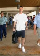 24 May 2002; The former Republic of Ireland captain Roy Keane depart Saipan International Airport. Soccer. Cup2002. Picture credit; David Maher / SPORTSILE *EDI*
