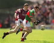 19 May 2002; Columba Holleran, Mayo, in action against Michael Meehan, Galway. Mayo v Galway, Connacht Minor Football Championship, Dr Hyde Park, Co. Roscommon. Picture credit; Damien Eagers / SPORTSFILE